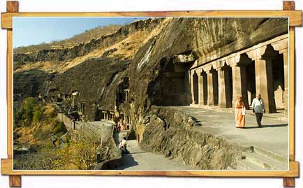 Walking Towards The Famous Pandava Caves At Ajanta