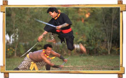 Martial Art Artists Practising The Game of Blood And Blade