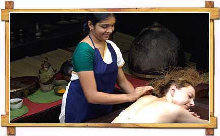 A Tourist getting Ayurvedic Treatment