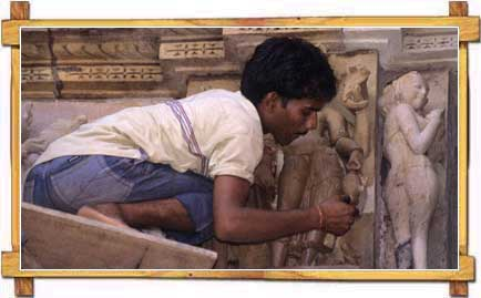 A Craftsman Working on the Sculptors of Khajuraho Temples