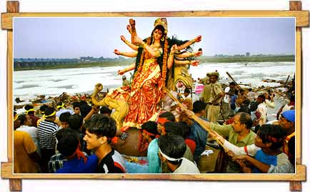 Immersion of Durga Idol In Ganga River