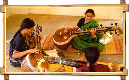 Women learning Music at Kalakshetra College of Fine Arts , Goa
