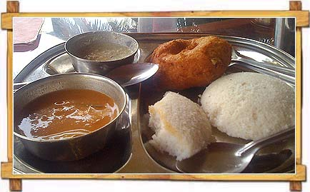 Idli with Chutney and Sambar