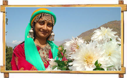Kashmiri Girl in Typical Kashmiri Costume and Jewelry