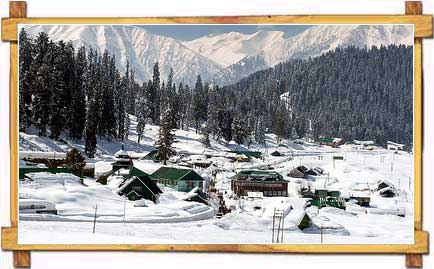 Snow Covered Gulmarg Skii Resort in Kashmir