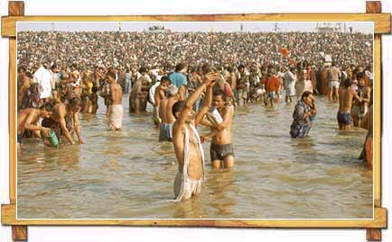 Devotees Taking Bath at Kumbh Mela