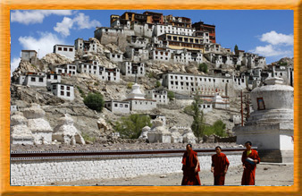 View of a Ladakh Monastery and Monks