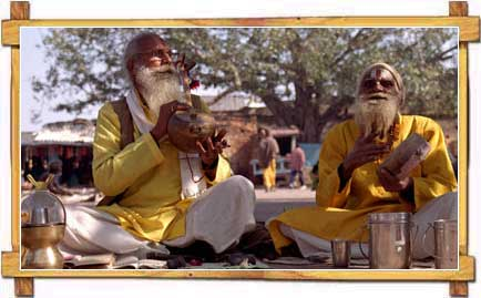 Sadhus in Orcha Playing Music