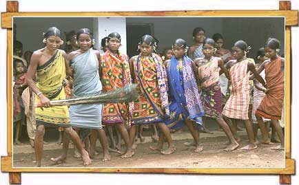 Orissa Tribes Participating In The Chaiti Ghonda Dance Form