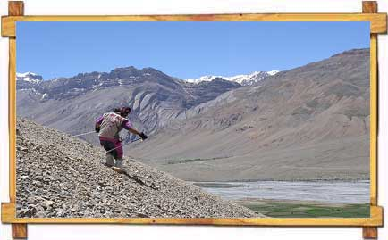 Skiing on Rocky Surface in Spiti