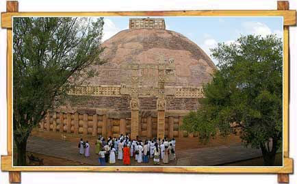 A Congregation at Sanchi Stupa