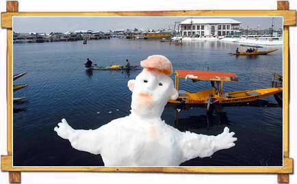Snowman Erected on the Banks of Dal-Lake in Srinagar